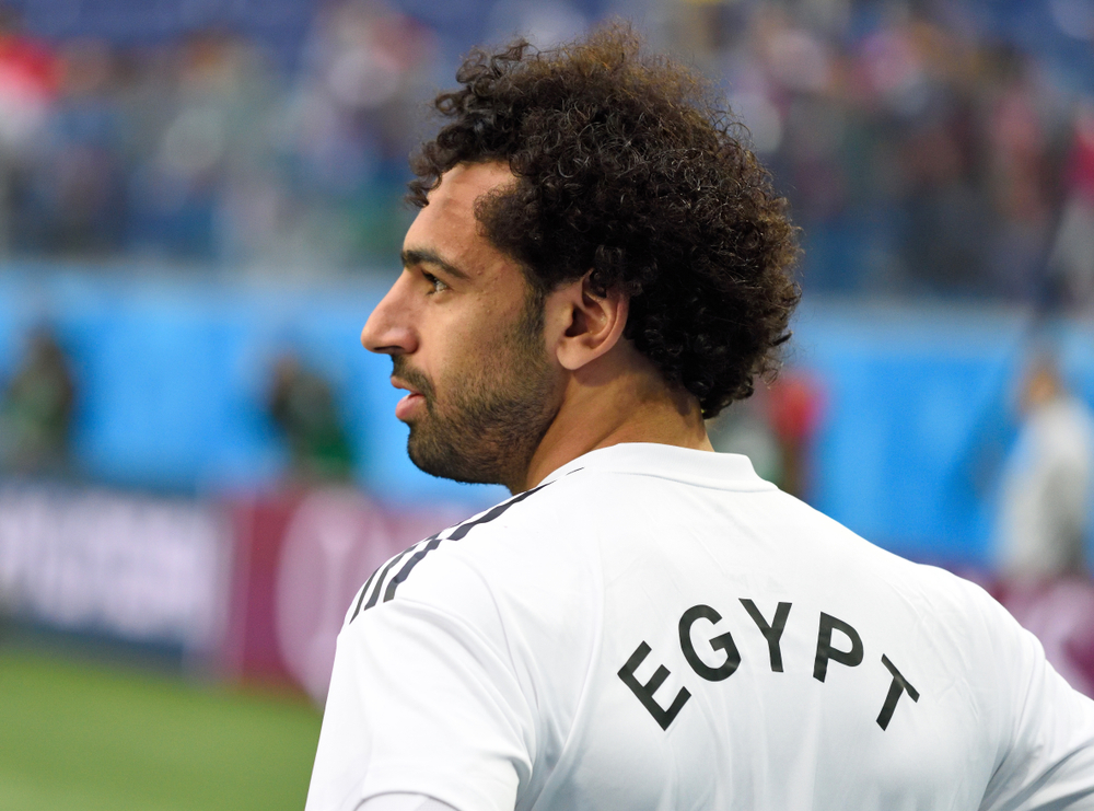 Der ägyptische Fußballspieler Salah bei der WM 2018 im Spiel Russland gegen Ägypten