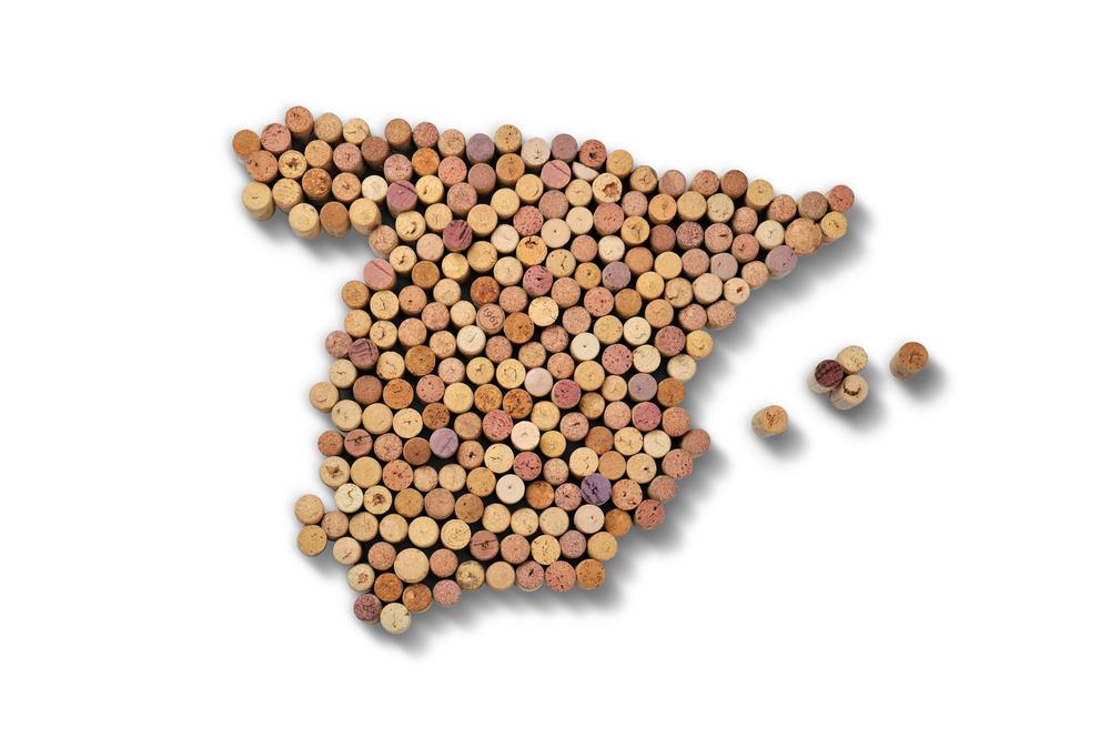 Umrisse der iberischen Halbinsel aus Weinkorken