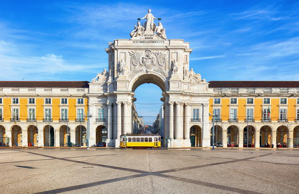 Lissabons Triumphbogen in der Rua Augusta