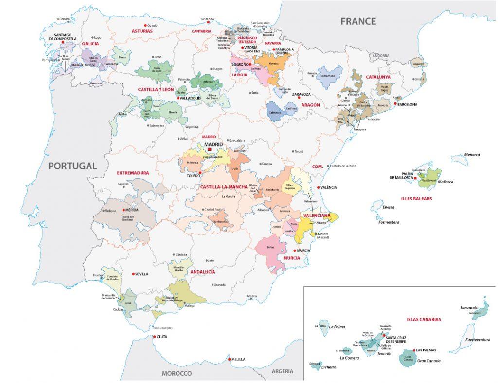 Spaniens Weinanbaugebiete auf der Karte